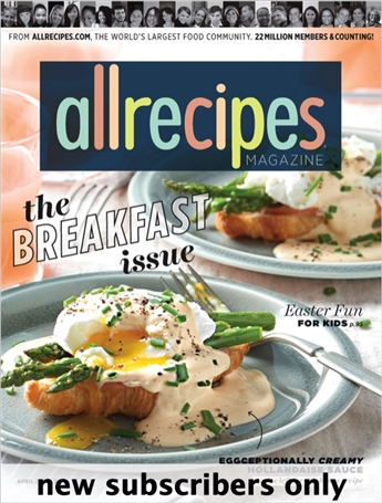 Allrecipes Magazine is bringing you all the best tried-and-true recipes, tips and how-to's. In every issue of Allrecipes Magazine, you'll find: - Favorite recipes from America's most experienced home cooks. - Exciting new ways to personalize dishes and tailor recipes to your family's tastes. - The relaxed feeling of cooking with your best friend. - Down-to-earth advice on saving time and money at the grocery store.